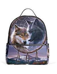 a81c4ee760 JSTEL Dream Catchers Wolf School Backpack 4th 5th 6th Grade for Boys Teen  Girls
