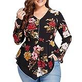 Camisetas Talla Grande de Gasa Mujer ❤️ XL~4XL ❤️ LILICAT® Blusa Tops Irregular Floral Impreso de Manga larga de Moda, 2018 Blusa con Cremallera y Cuello V Primavera (2XL, Negro)