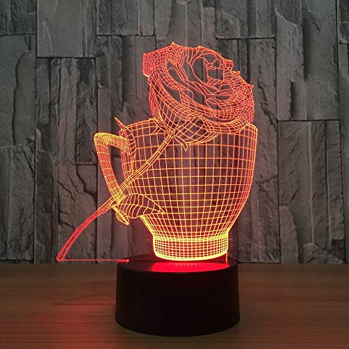 Tianyifengg 3D-LED-7 Farbe-Fernbedienung-Nachtlicht-Kaffeetasse und Rose Lichter Vision Nachtlichter Kindertisch Baby Schlafen Geschenk Dekoration