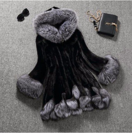 GS~LY Top donna, pelliccia ecologica Lined, nero, XXXXL