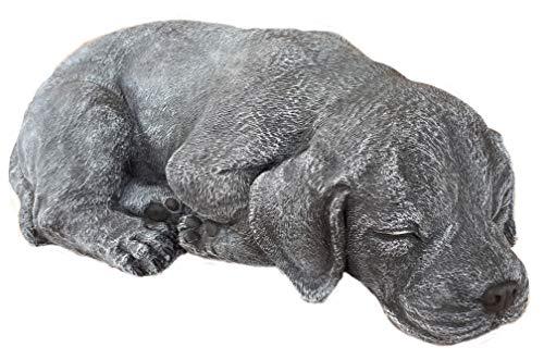 Steinfigur Hund schlafend 191, Gartenfigur Steinguss Tierfigur Basaltgrau