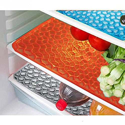 Yellow Weavestm Refrigerator Drawer Mat / Fridge Mat In Thick Material Set Of 6 Pcs (Multi)