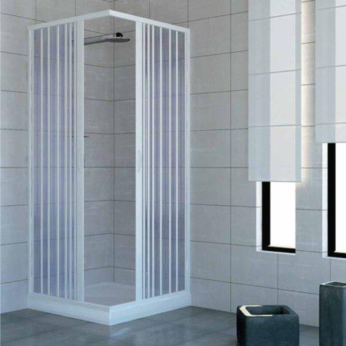 Box douche à deux portes fermeture à angle à 90°. Produit en PVC atoxique auto-extinguible. Réductible par le coupe du rail. Blanc.