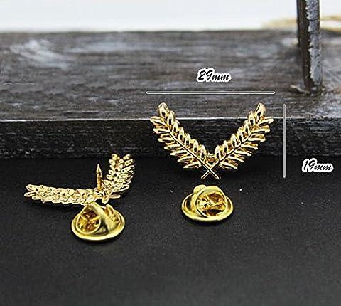 3 pour le prix de 2 ! Broche de cerf dorée pour veste ou col, accessoire de luxe mode animale pour un cadeau unique, x1 PAIR set of gold wheat brooches, 3 cm