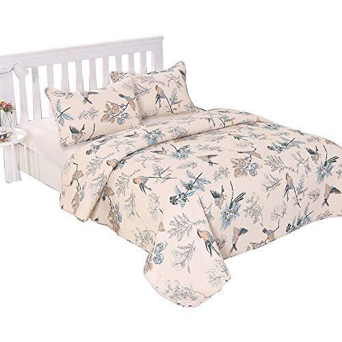 Alicemall Bettwäsche 3 Teilig Baumwolle Tagesdecke Quilt 230 X 250 Cm Mit  Kissenbezüge Angenehm Atmungsaktive Patchwork (Vögel Und Blumen)