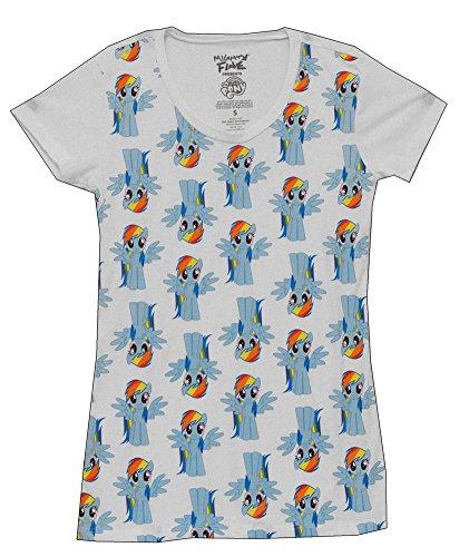 Mighty Fine My Little Pony Rainbow Dash Cartoon Juniors Babydoll T-Shirt Tee
