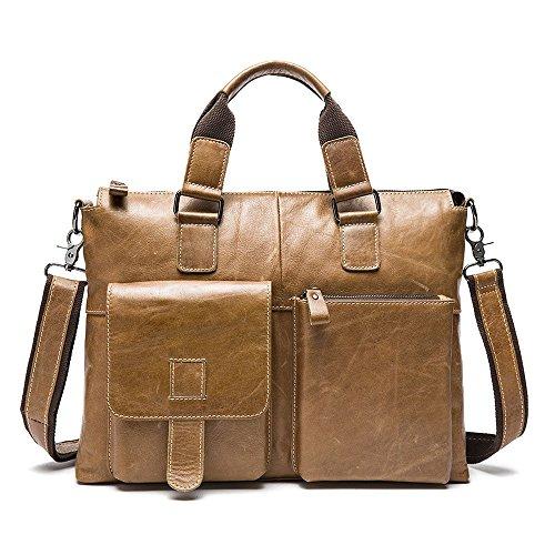Stepack Marken-Männer echtes Leder-Kurier-Beutel-Schulter-Beutel für Aktenkoffer-Handtasche Hellbraun