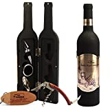 Yobansa 5-teiliges Weinflaschen-Set mit Aufbewahrungsbox in Weinflaschenform, Flaschenöffner, Korkenzieher 5 pcs
