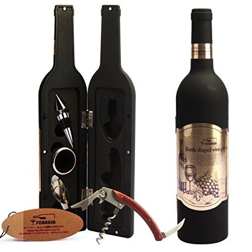 Yobansa Wine Bottle Shaped Flaschenöffner Set, Kellner Wein Korkenzieher Wine Stopper Wine Pourer, 5 Stück Wein Zubehör Geschenkset