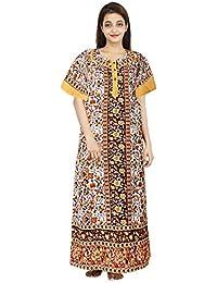 Silver Organisation Pure Cotton Women/Girls Nightwear Gown Multicolour Nighty (Free Size)
