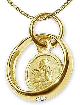 CLEVER SCHMUCK-SET Goldener kleiner Taufring mit Einhänger Engel rund und Zirkonia weiß glänzend und Kette Weitpanzer...