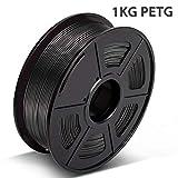 3D Warhorse PETG Filament Black, 3D Hero PETG Filament 1.75mm,PETG 3D Printer Filament, Dimensional Accuracy +/- 0.02 mm, 2.2 LBS(1KG),1.75mm Filament, Bonus with 5M PCL Nozzle Cleaning Filament