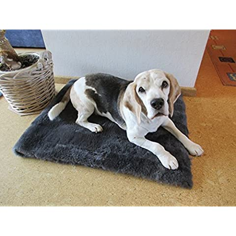coperta per sdraiarsi per cani tappeto rettangolare pelle die agnello antracite (Pelle Appartamento Divano)