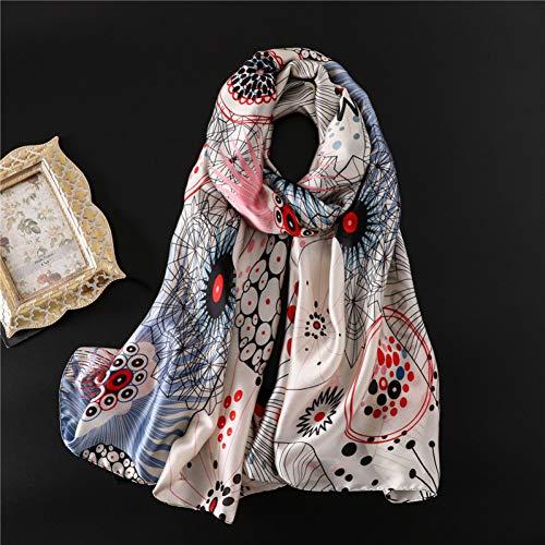 JJHR Seide Schal Chiffon für Für Silk Satin Scarf Abstract Pattern Beach Towel Ladies Autumn Winter Scarf -
