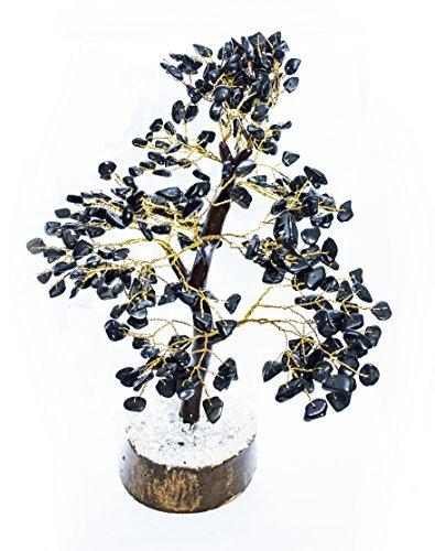 crocon schwarz Turmalin natur Farbe Heilung Edelstein Kristall Bonsai Fortune Geld Baum für viel Glück Reichtum und Wohlstand Spirituelle Geschenk (mit Golden Draht, Ästen ) Size10-30,5 cm (Draht-edelstein-baum)