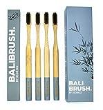 Bamboo Toothbrushes with Charcoal Bristles - 'BALIBRUSH.' | Biodegradable | Soft - Medium Bristles | Vegan | BPA Free | Eco Friendly Bamboo Toothbrush & Packaging | Adults & Kids | Natural Whitening | Pack of 4