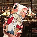 SHOUJIQQ Compatibile Cover iPhone,Vintage Stile Cinese Cartoon Carino Ragazza Hanfu Giocando Ombrello Palace Parete per iPhone X,XS,XS Max,XR-Usura Anti-Caduta del Telefono Mobile Imposta,Ipxr
