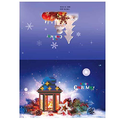 Nowear 1pcs / 8pcs Diamant-Malerei Mini Weihnachtsmann Schneemann-Weihnachts-Papier-Gruß-Postkarten Fertigkeit DIY Kids Festival Greet Karten (Weihnachtsmann Postkarten)