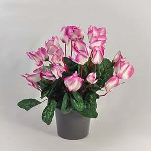 Cyclamen artificiel 24 tètes (30 cm) - rose et parme , Avec pot