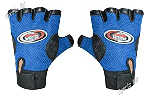 Sports 101 Polo Fit Leather Fitness Gloves, Free Size (Blue)