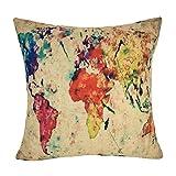 coolsummer Lino y Algodón Cuadrado Cojín de mapa del mundo de América Mapa Manta Decorativa Funda de almohada cojín funda de almohada 18x 18pulgadas, Lino, UKS018A3, 18x18