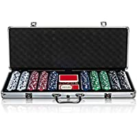WICKED GIZMOS Professional 500 Piece Poker Set with Cushioned Aluminium Carry Case Holder - Complete with 2 Card Decks, 5 Red Dice and 11.5g Official Casino Grade Chips