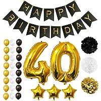 Globos Cumpleaños Happy Birthday #40, Suministros y Decoración por Belle Vous - Set 32 Piezas - Globo Grande Aluminio de 30,5cm 40 Años - Globos De Látex Dorado, Blanco y Negro - Para Adultos