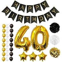 Globos Cumpleaños Happy Birthday #40, Suministros y Decoración por Belle Vous - Globo Grande de Aluminio 40 Años - Decoración Globos De Látex Dorado, Blanco y Negro - Apto para Todos los Adultos