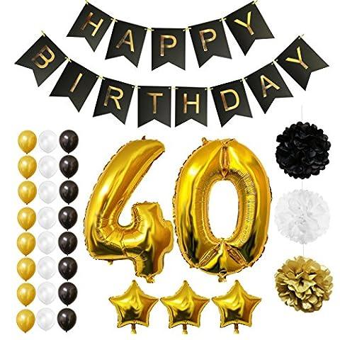 Ballons Happy Birthday 40ème Anniversaire, Fournitures & Décorations par Belle Vous - Set tout-en-un - Gros Ballon Aluminium 40 Ans - Ballon de Décoration en Latex Or, Blanc & Noir - Décors Adaptés pour Tous les Adultes