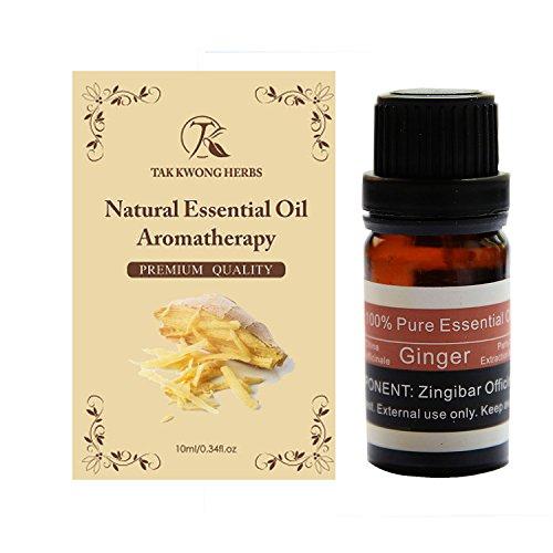 TKH 100% naturale puro olio essenziale di zenzero(Zingiber) 10 ml terapeutico Botany olio e non danneggia la pressione