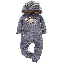 Sunenjoy Bébé Garçons Filles Plus Chaud Cerf Imprimer Hooded Barboteuse  Combinaison Tenue Vêtements ... b673e48e433