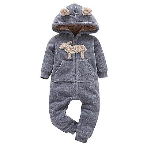 Combinaison Pyjama Enfant Bebe Garcons Filles Hiver Kangrunmy Pull A Capuche Manches Longues ÉPaissie Avec Fermeture Impression Veste A Capuche Coton Chaud Sweat Romper 0-24 Mois Gris (24 mois)