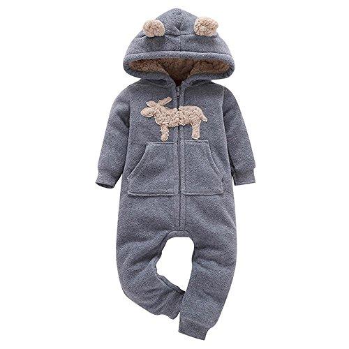 Sunenjoy Bébé Garçons Filles Plus Chaud Cerf Imprimer Hooded Barboteuse Combinaison Tenue Vêtements pour Enfant 0-24 mois (0-6 mois)