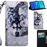 DodoBuy 3D Hülle für Huawei Y6 2019/Honor 8A, Flip PU Leder Schutzhülle Handy Tasche Brieftasche Wallet Case Cover Ständer mit Kartenfächer Trageschlaufe Magnetverschluss - H&