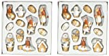 Geschenkidee Deko Ostern - Brauns Heitmann 2x61045 24-teiliges Set Oster-Dekofiguren aus Holz 2.5-6 cm, natur weiss
