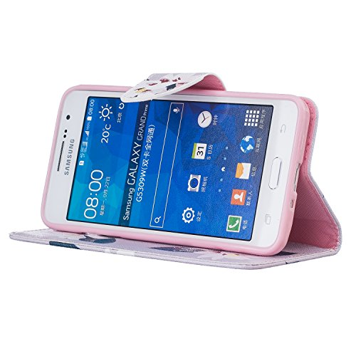Cozy Hut® Samsung Galaxy Grand Prime G530 G530F Housse, Ultra-mince Etui En Cuir PU Flip Cassette Intérieur Pour Cartes Pour Samsung Galaxy Grand Prime G530 G530F New Mode Fine Folio Wallet/Portefeuil Gris lily