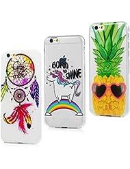 Coque iPhone 6 6S Transparente Housse Cuir Étui Accessoire Silicone Gel Souple TPU Antichoc Original Case Cover Flip pour iPhone 6 6S (4.7 pouces) - Plumes Carillons * Rainbow Horse * Ananas