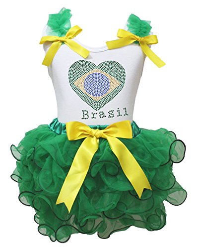 Valentine Kleid Strass Brasilien Herz weiß Shirt grün Blütenblatt Rock Set–74bis 122 Gr. Small, Grün (Rock Set Herz)