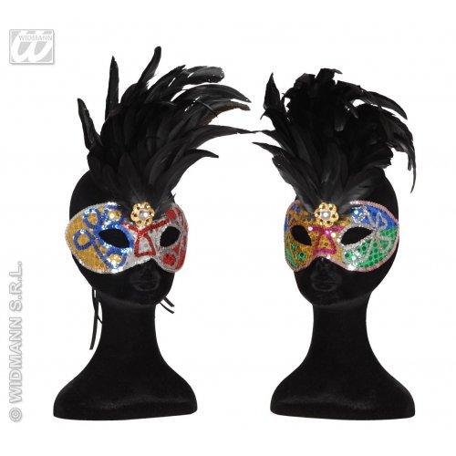 WIDMANN Brasilianische Augenmaske, Pailletten mit Federn - 2 Farben Ass schwarze Masken Augenmasken & Verkleidungen für Maskenade, Kostüm-Zubehör