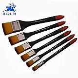 #4: number 1 : BGLN Nylon Flat Head Oil Paint Brush Scrubbing Painting Brush Acrylic Oil Painting Brush Wall Painting Brush Art Supplies BS-003