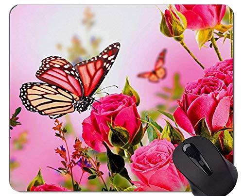 Mausunterlage Rutschfeste Naturkautschuk-Rechteck-Mausunterlagen, rosa Rosen-Rosen-Kunst-Schmetterling - genähte Ränder
