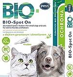 Bio Spot-On 4 Pipette I Prodotto Naturale Contro zecche e pulci Protezione zecche per Cani e Gatti a Base Biologica per Cani e Gatti di Piccola Taglia