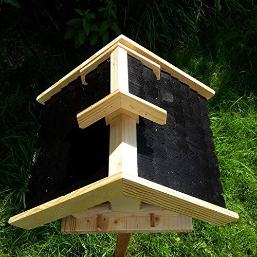 Vogelhaus-XL Schwarz- Vogelhäuser-Vogelfutterhaus Vogelhäuschen-aus Holz Wetterschutz Putzklappe - 3