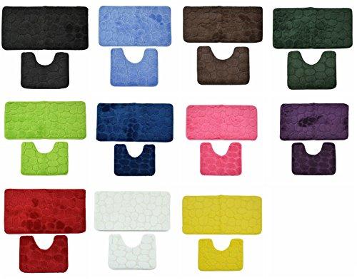 AHOC Badvorleger,Badematten, Badezimmermatten 2-teilig, Badteppich 2er-Set 100% Polypropylen Waschmaschinen geeignet und antiallergisch in vers. Farben und Muster (waschbar 30°) (3D-Stein, grau)