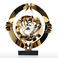 YJWKR Sculpture decoration Dream Flower Sculpture Modern Metal Abstract Figurine Stainless Steel Craft Gift for Office Home Decoration Accessories