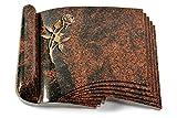 MEMORUM Grabmale Grabbuch, Grabplatte, Grabstein, Grabkissen, Urnengrabstein, Liegegrabstein Modell Prestige 40 x 30 x 8-9 cm Aruba-Granit, Poliert inkl. Gravur (Bronze-Ornament Rose 6)