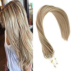 966c0ef13389e9 Sunny Microring Extensions Echthaar Asche Braun mit Blond Haare 20 zoll/  50cm Remy Loop Haarverlangerung