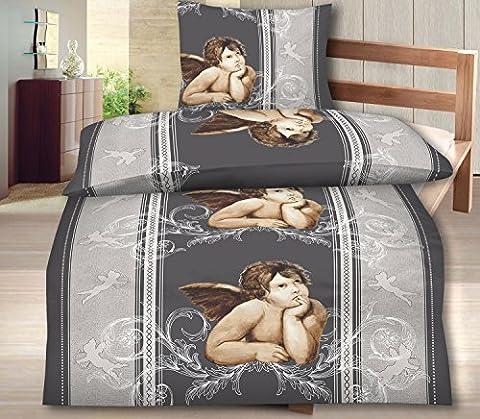 4-Teilig Hochwertige Biber Bettwäsche grau/silber mit Reißverschluss GRATIS 1x SCHAL GRATIS 2x 135x200 Bettbezug + 2x 80x80 Kissenbezug