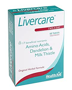 HealthAid Livercare for Detoxing of Liver, Vegetarian, 60 Tablets