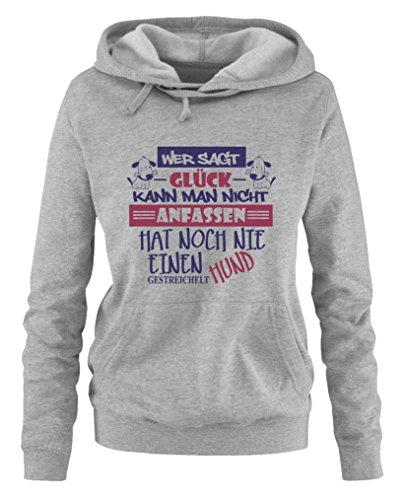 Comedy Shirts - Wer sagt Glück kann man nicht anfassen, hat noch nie einen Hund gestreichelt - Damen Hoodie - Grau / Lila-Fuchsia Gr. S Mans Badesachen